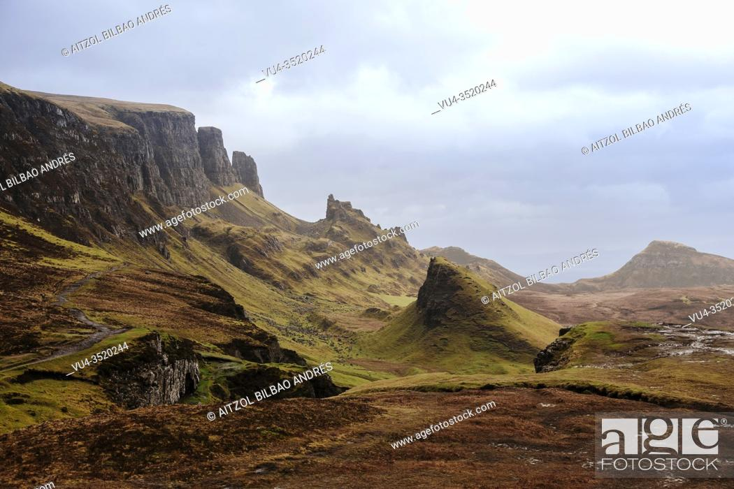 Stock Photo: The Quiraing is a landslip on the eastern face of Meall na Suiramach, the northernmost summit of the Trotternish on the Isle of Skye, Scotland.