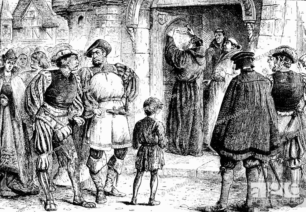 Stock Photo - Lutheru0027s protest 1517 (1909). Martin Luther nailing his theses to the door of Wittenberg Church. Engraving taken from the Harmsworth History ... & Lutheru0027s protest 1517 (1909). Martin Luther nailing his theses to ...