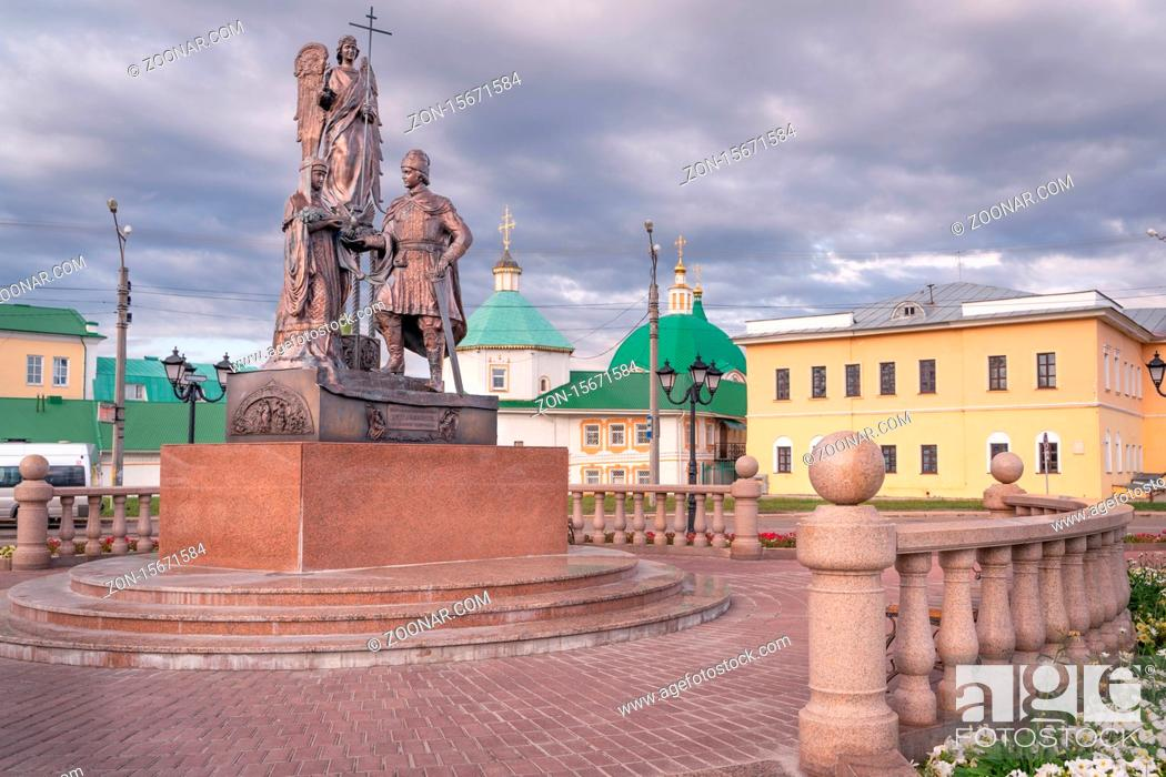 Stock Photo: Cheboksary/Russia -05.07.2020:Monument to saints Peter and Fevronia of Murom. Translation: To saints Peter and Fevronia of Murom.
