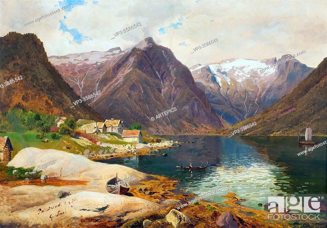 Stock Photo: Saal Georg Eduard Otto - Der Sognefjord in Norwegen - German School - 19th and Early 20th Century.