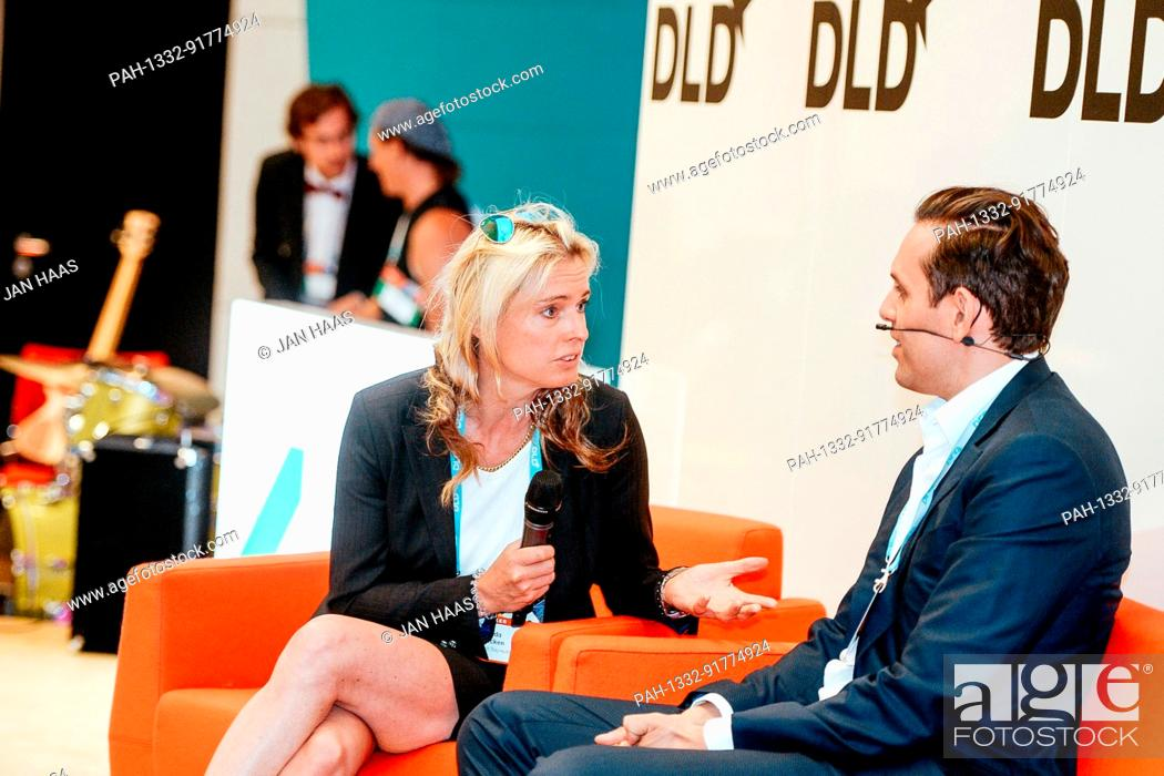 Stock Photo: BAYREUTH/GERMANY - JUNE 21: Ricarda Bouncken (University of Bayreuth, l.) talks with Christian Angermayer (Apeiron Investment Group) in a panel discussion on.