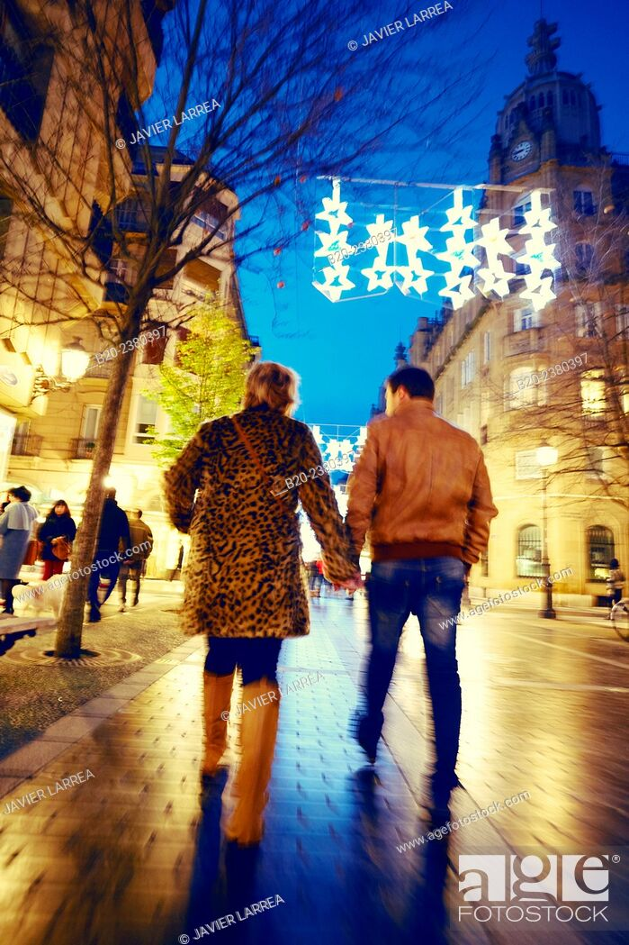 Stock Photo: Christmas lights, Shopping, Donostia San Sebastian, Gipuzkoa, Basque Country, Spain.