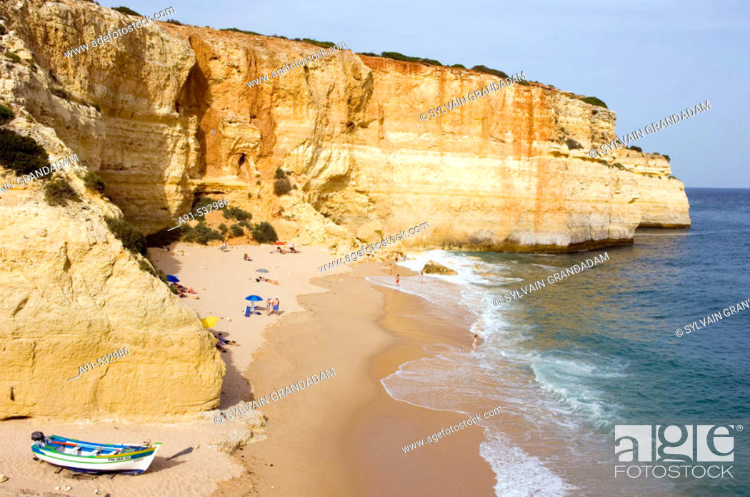 Stock Photo: Small beach and fishermen harbour on the coast near Albufeira. Algarve. Portugal.