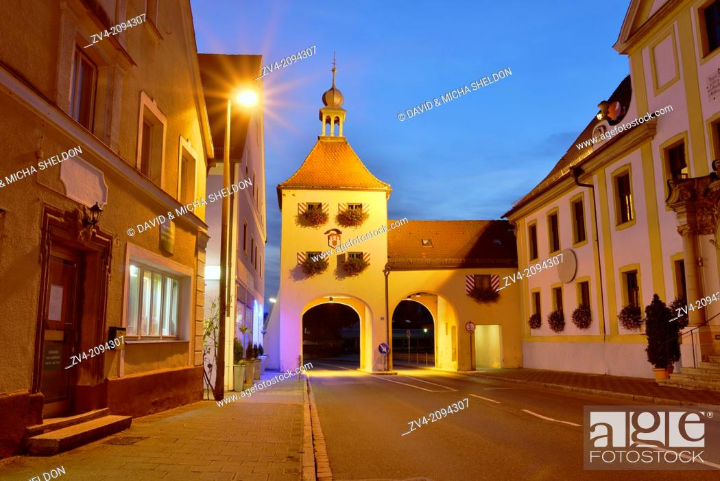 Stock Photo: Landscape of an old town in blue hour, Franconia, Germany.