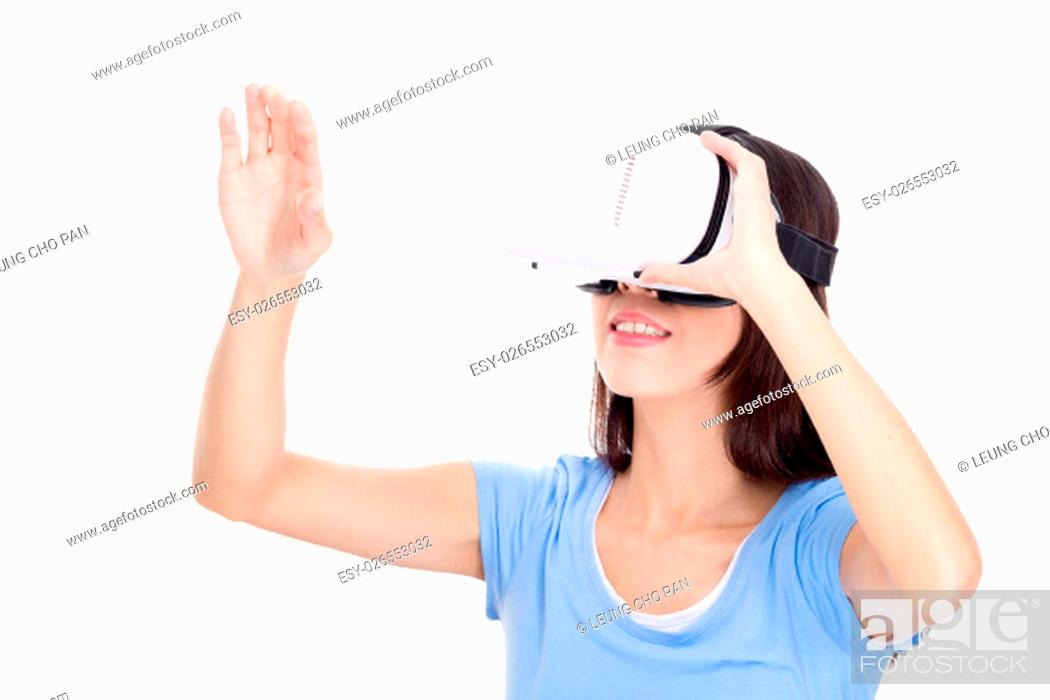 Stock Photo: Young Woman wearing vr device.