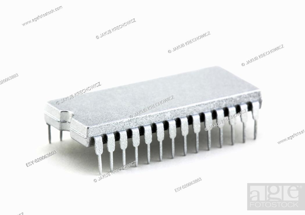 Stock Photo: Silver microprocessor isolated on white.