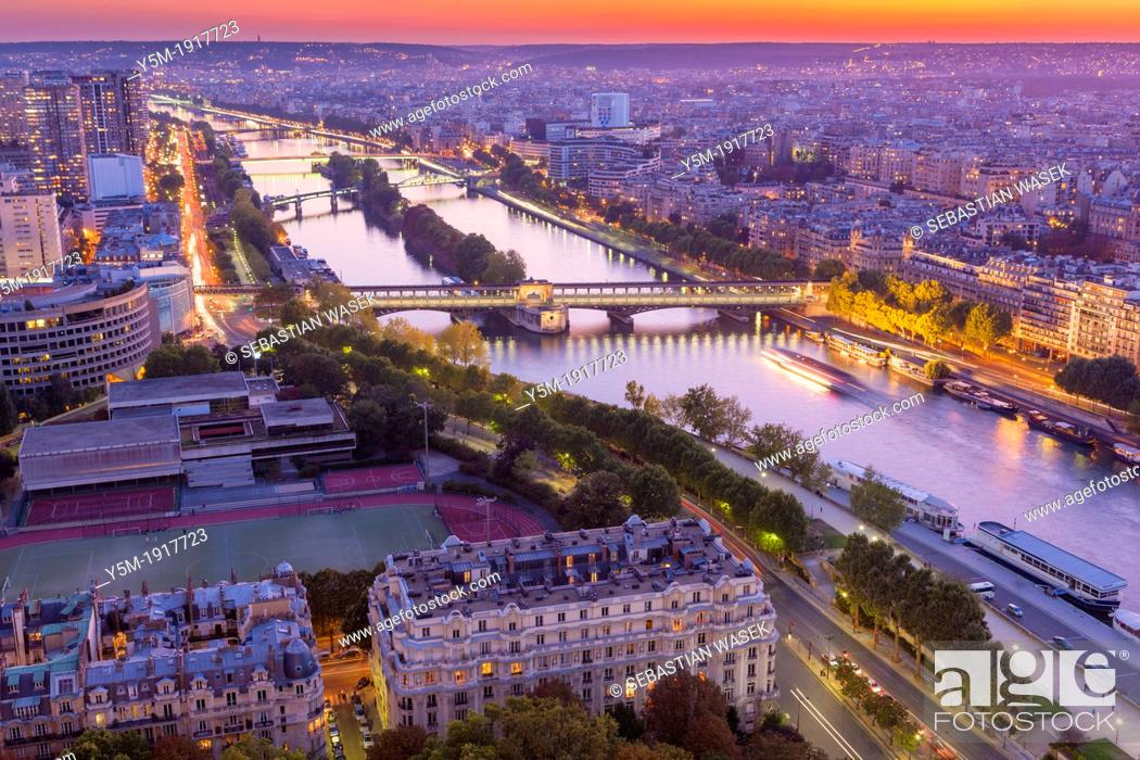 Stock Photo: Aerial view of Paris from Eiffel Tower, France, Europe.