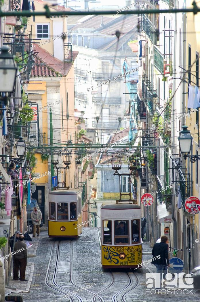 Stock Photo: Bica cable car in Bairro Alto in the morning, Lisbon  Portugal.