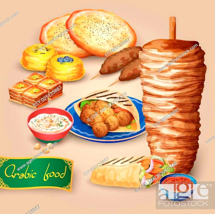 Arabic Food Set, Stock Vector, Vector And Low Budget Royalty Free