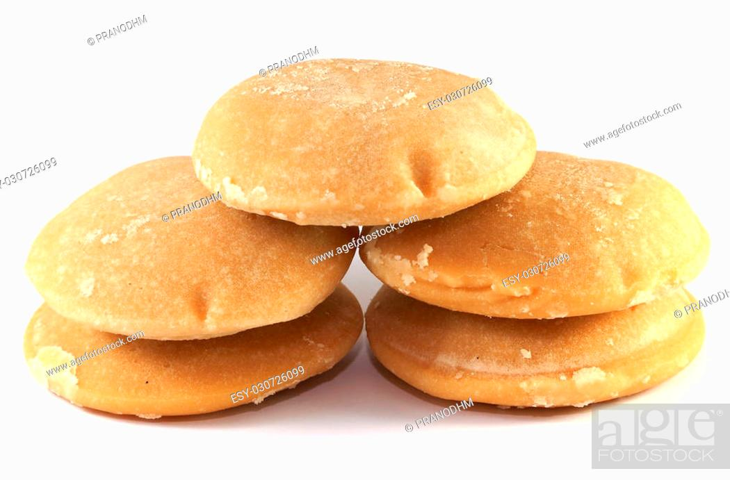 Photo de stock: The palm sugar or Jaggery on white background.