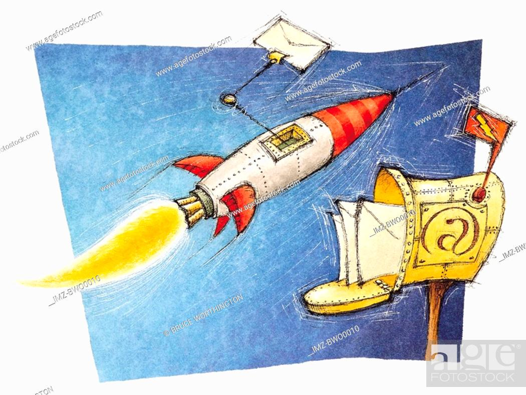 Stock Photo: An illustration about e-mail with a rocket bringing mail to a postbox.