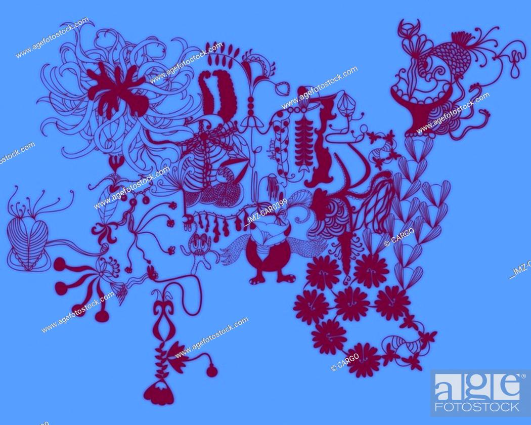 Stock Photo: Blue abstract floral and bird pattern.