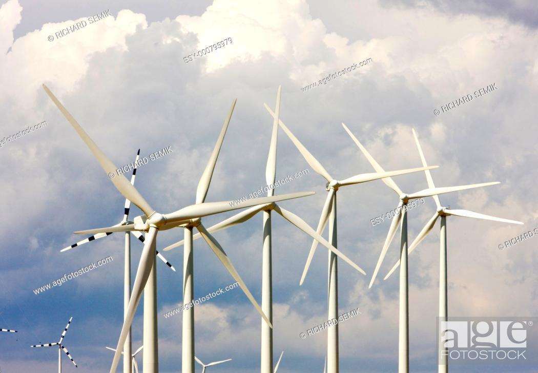 Stock Photo: wind turbines, Aragon, Spain.