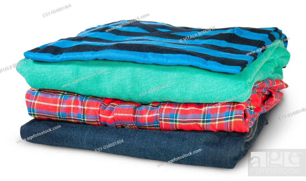 Stock Photo: Stack Of Four Types Of Clothes Rotated Isolated On White Background.