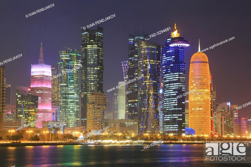 Stock Photo: Doha at Night, Qatar.