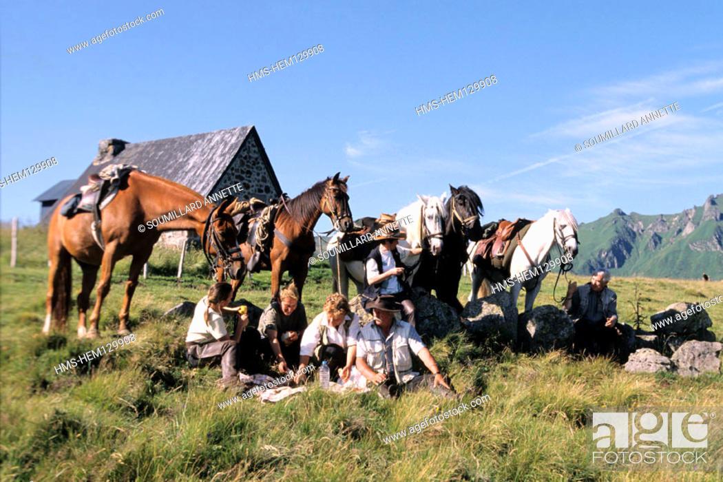 Photo de stock: France, Puy-de-Dôme (63), Sancy massif, equestrian tourism.