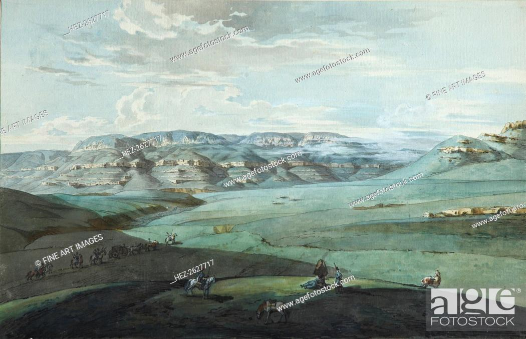 Stock Photo: View of Caucasian Mineral Waters and the Kislovodsk Fortress, 1805. Artist: Korneev (Karneev), Yemelyan Mikhaylovich (ca 1780-after 1839).