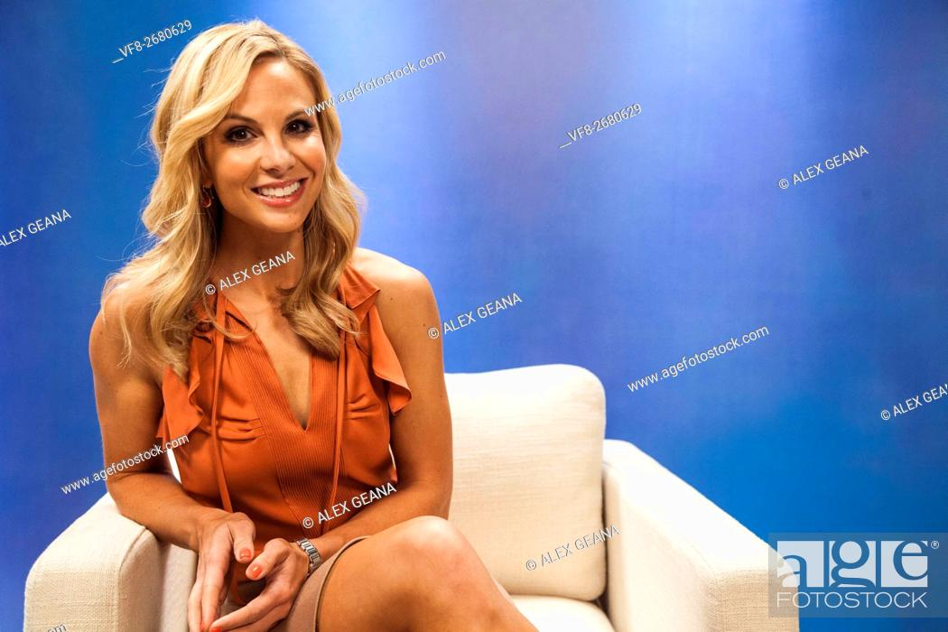 Stock Photo: TV personality Elisabeth Hasselbeck on set for an infomercial made to look like a TV set.