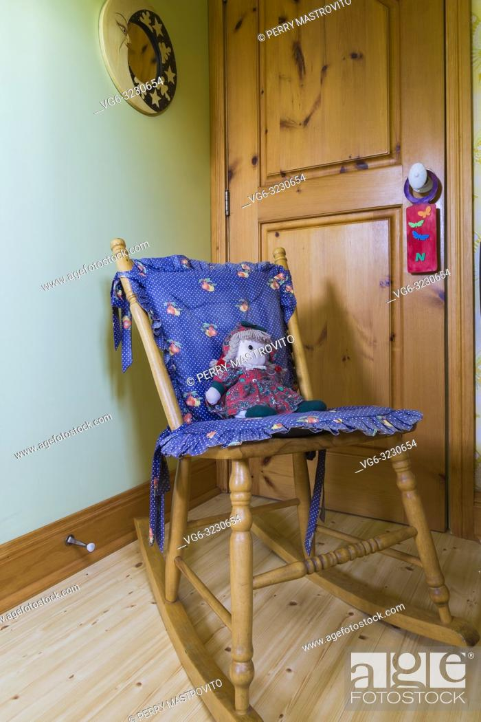 Sensational Antique Wooden Rocking Chair With Blue Cushions And A Onthecornerstone Fun Painted Chair Ideas Images Onthecornerstoneorg