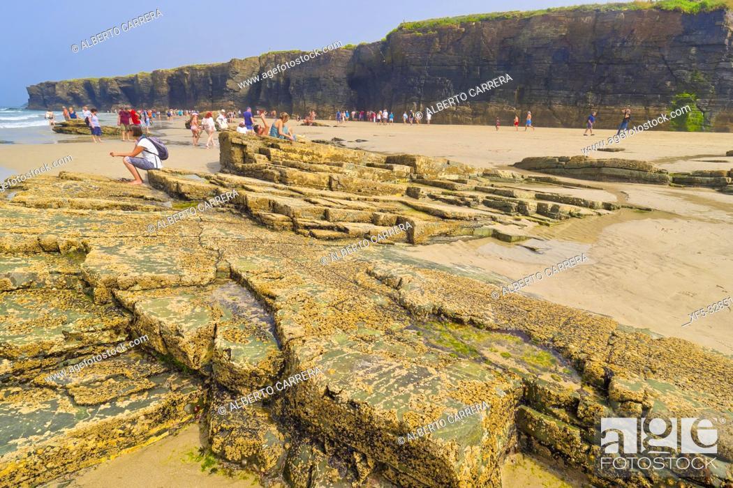 Stock Photo: Beach of the Cathedrals, Playa de las Catedrales, Playa de Aguas Santas, Natural Monument, Cantabric Coast, Ribadeo, Lugo, Galicia, Spain, Europe.