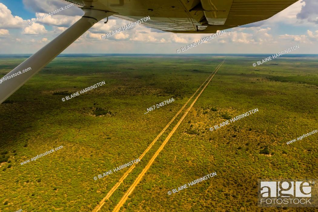 Stock Photo: Aerial view, road in the bush, Botswana.