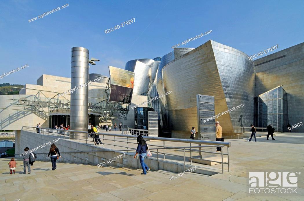 Stock Photo: Guggenheim Museum, Bilbao, province of Biscay, Pais Vasco, Basque country, Spain.