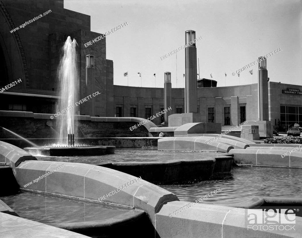 Stock Photo: Cincinnati Union Terminal, detail of fountain, constructed in 1933, partially demolished in 1974, Cincinnati, Ohio, photograph circa early 1970s.