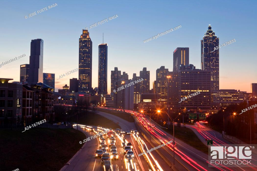 Stock Photo: USA, Georgia, Atlanta City , Down Town Skyline.