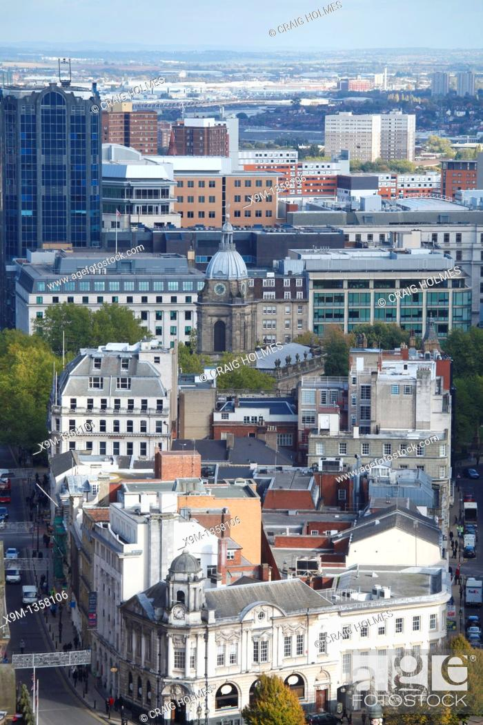 Stock Photo: Aerial view of the Colmore Row area of the city centre, Birmingham, West Midlands, England, UK.
