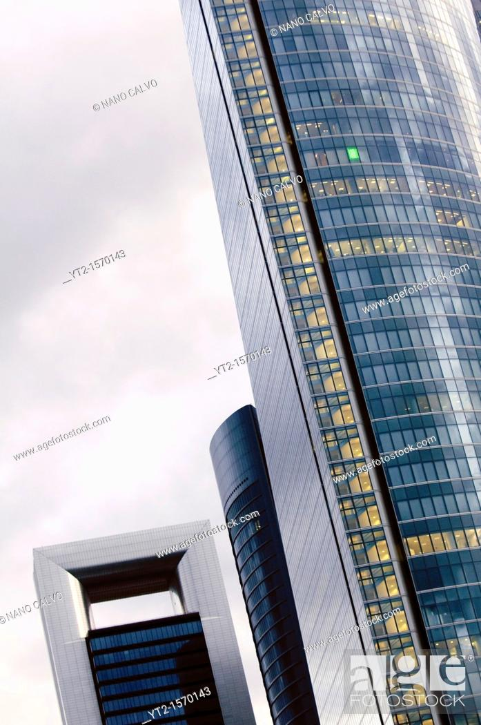 Stock Photo: CTBA s a business park near Paseo de la Castellana in Madrid Originally known as Madrid Arena, the consortium of the four towers owners decided to adopt a new.