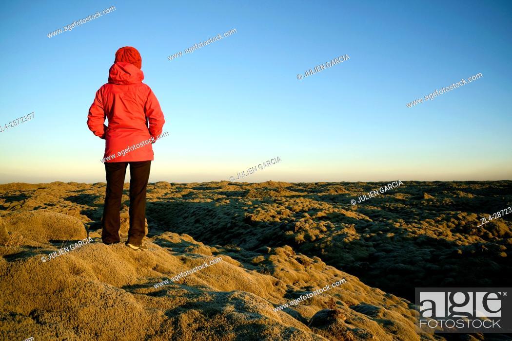 Stock Photo: Iceland, Sudurland region, lava field, Model Released.
