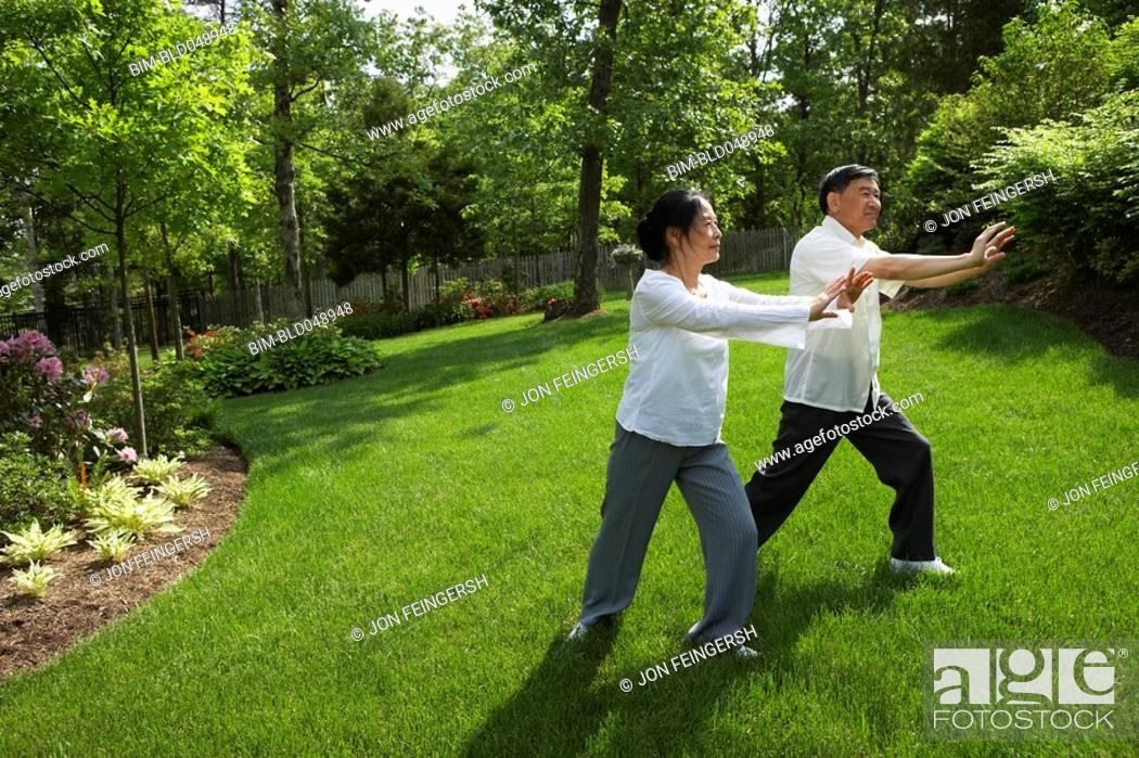 Stock Photo: Senior Asian couple practicing tai chi.