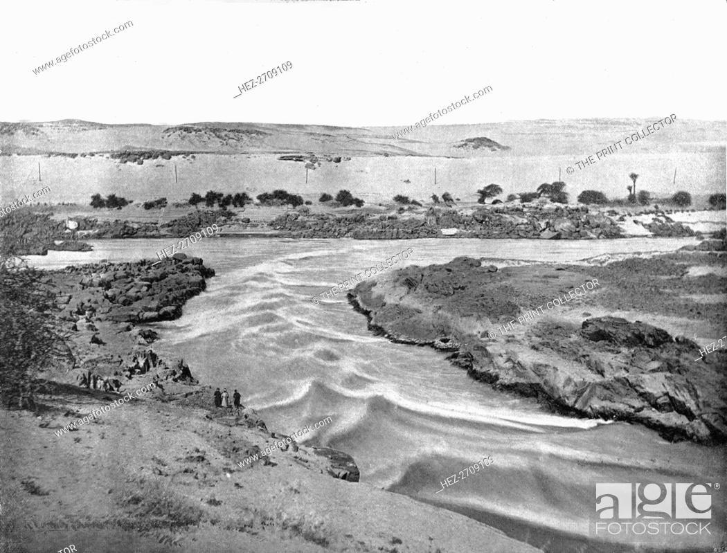Stock Photo: The first cataract of the Nile, Aswan, Egypt, 1895. Creator: W & S Ltd.