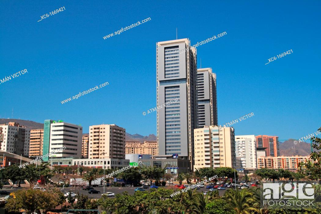 Stock Photo: Twin towers, Santa Cruz de Tenerife, Tenerife, Canary Islands, Spain.