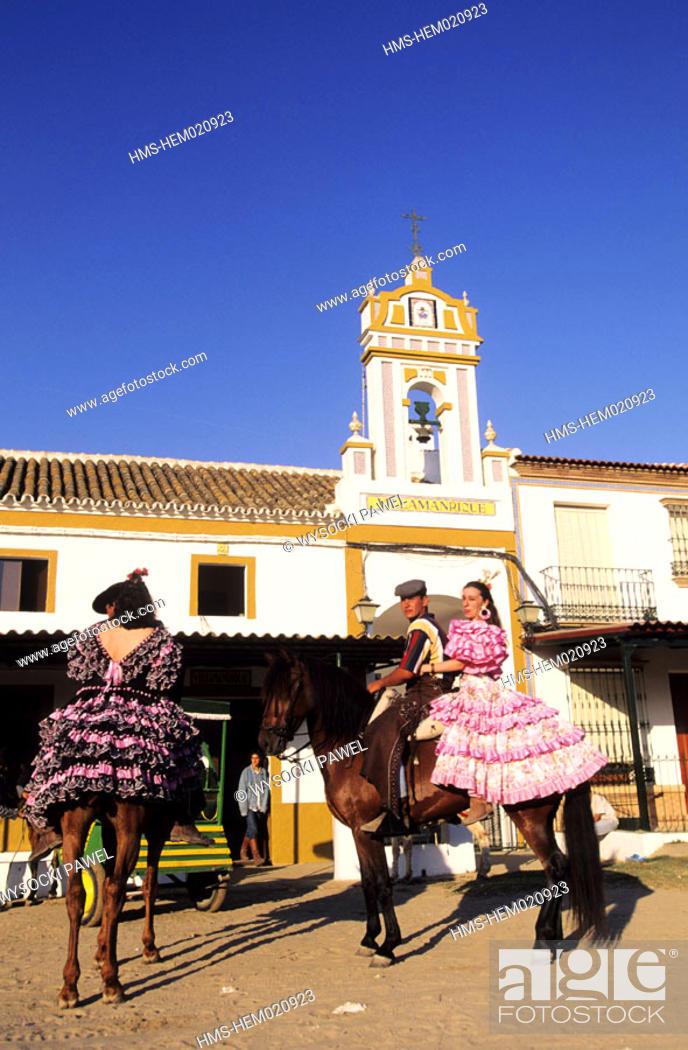 Stock Photo: Spain, Andalusia, Sevilla region, El Rocio pilgrimage (Pentecost).