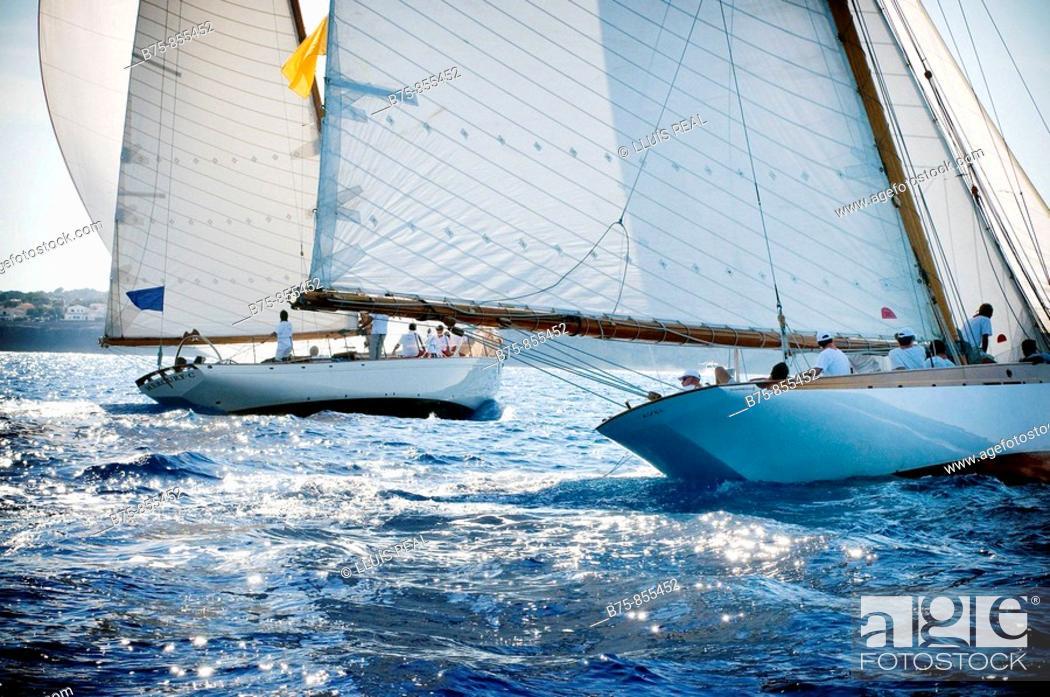 Stock Photo: Sailing ship, boat race, Minorca, Baleric Islands, Spain.