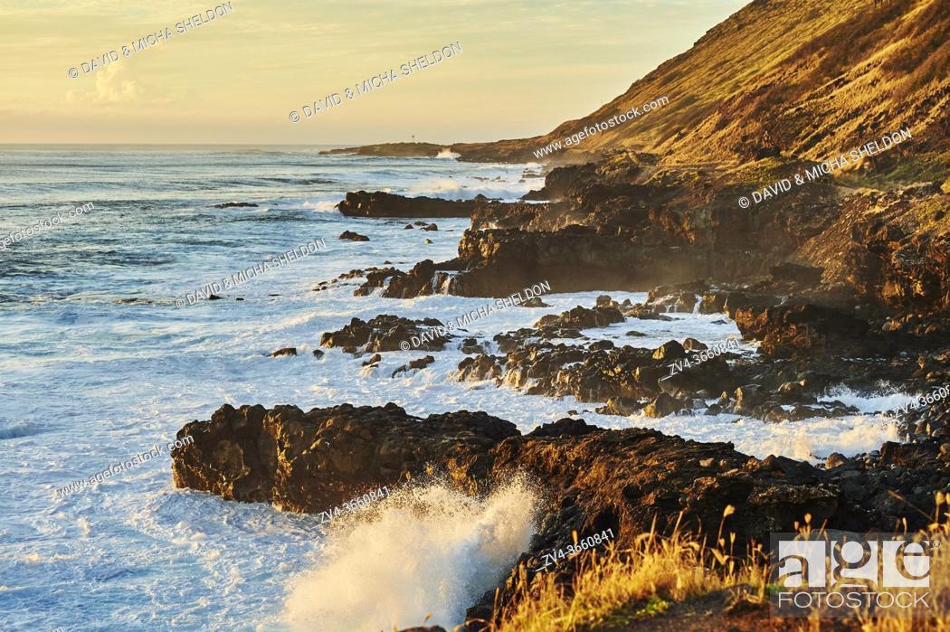 Stock Photo: Landscape of the beach at Point State Park, Hawaiian Island Oahu, Hawaii, Aloha State, United States.