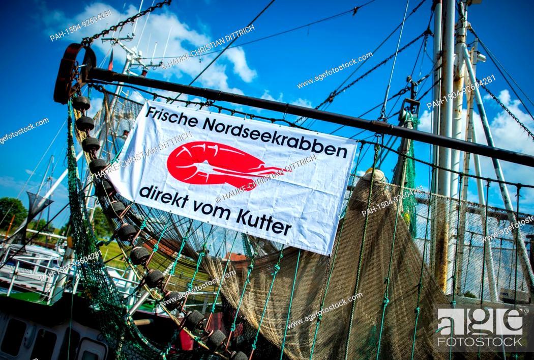 Stock Photo: A shrimp fishing boat at the old port of Hooksiel (Germany), 04 June 2017. | usage worldwide. - Hooksiel/Niedersachsen/Germany.
