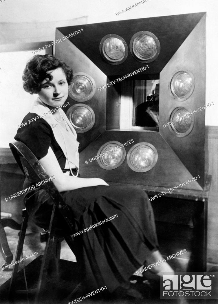 Stock Photo: New York, New York: July, 1931 Natalie Towers, the first Television Girl sits in front of Columbia Broadcasting System's telecasting camera.