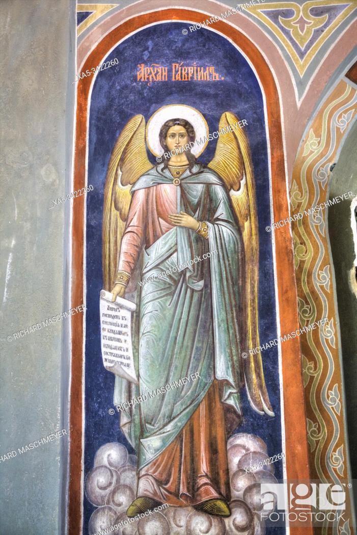 Imagen: Interior Frescoes, Church Of St Boris and St Gleb, UNESCO World Heritage Site, Kideksha, Vladimir Oblast, Russia.