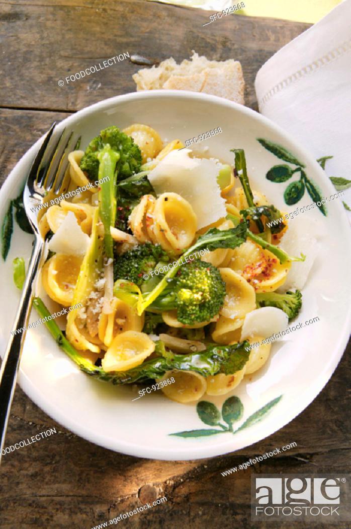 Stock Photo: Orecchiette with broccoli, chili flakes and Parmesan.
