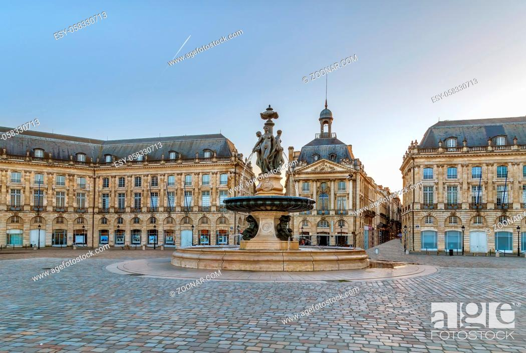 Stock Photo: Building on Place de la Bourse is one of the city's most recognisable sights, Bordeaux, France.