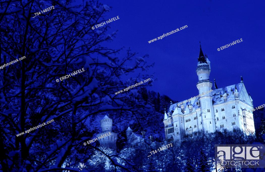 Stock Photo: Neuschwanstein castle in a winter night.