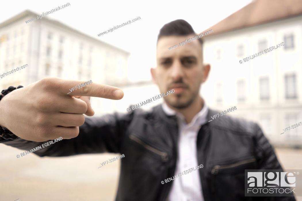 Stock Photo: illiberal man, gesture.