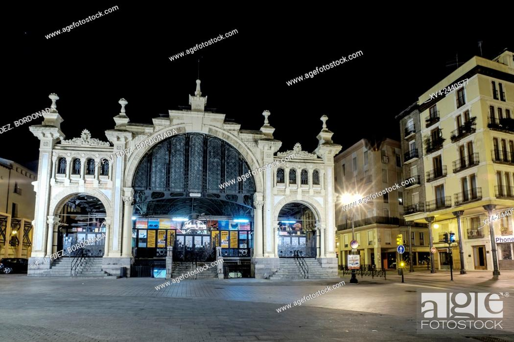 Stock Photo: Central Market of Saragossa by Night, Aragon, Spain.