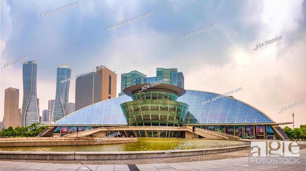 Imagen: China, Hangzhou City, Jianggan District, Qianjiang New City, Hangzhou Grand Theater.