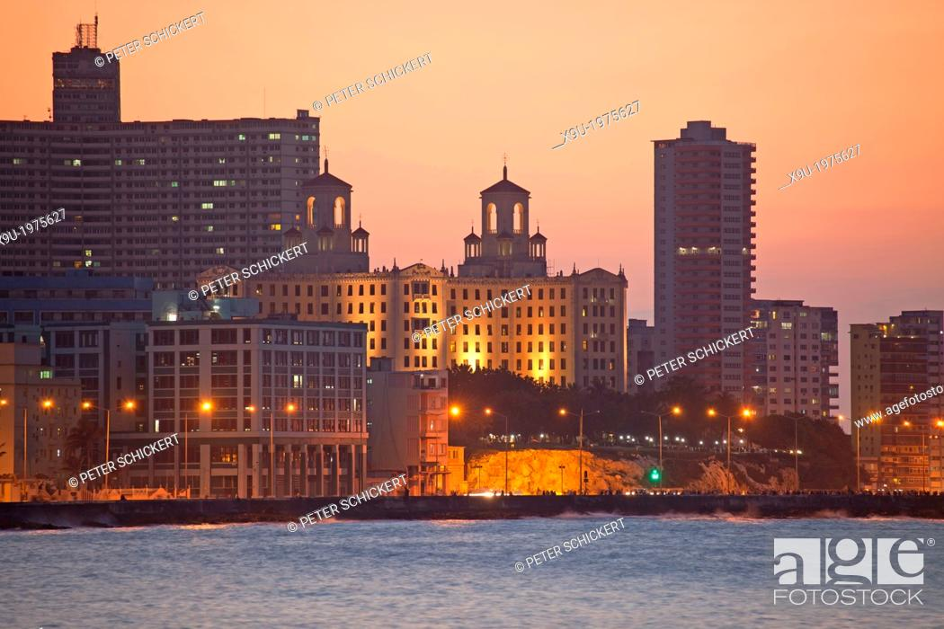 Stock Photo: Malecon with National Hotel and FOCSA in Havana, Cuba, Caribbean.