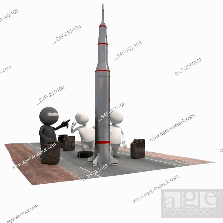 Stock Photo: Three anthropomorphic figures with rocket and fuel cans, CGI.