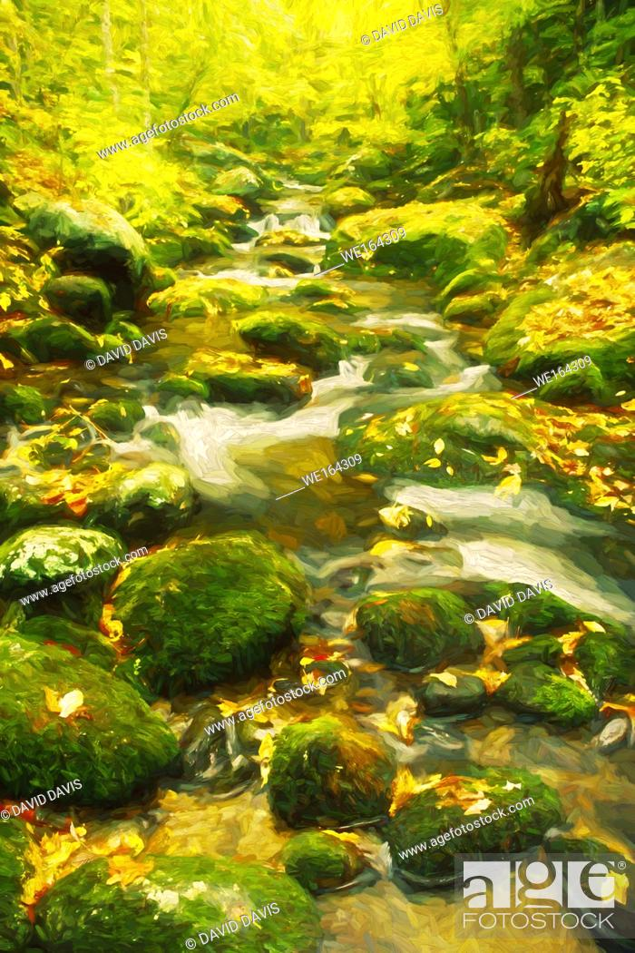 Stock Photo: Impressionist art of autumn along the Roaring Fork Creek, Great Smoky Mountains National Park, Tennessee, United States.