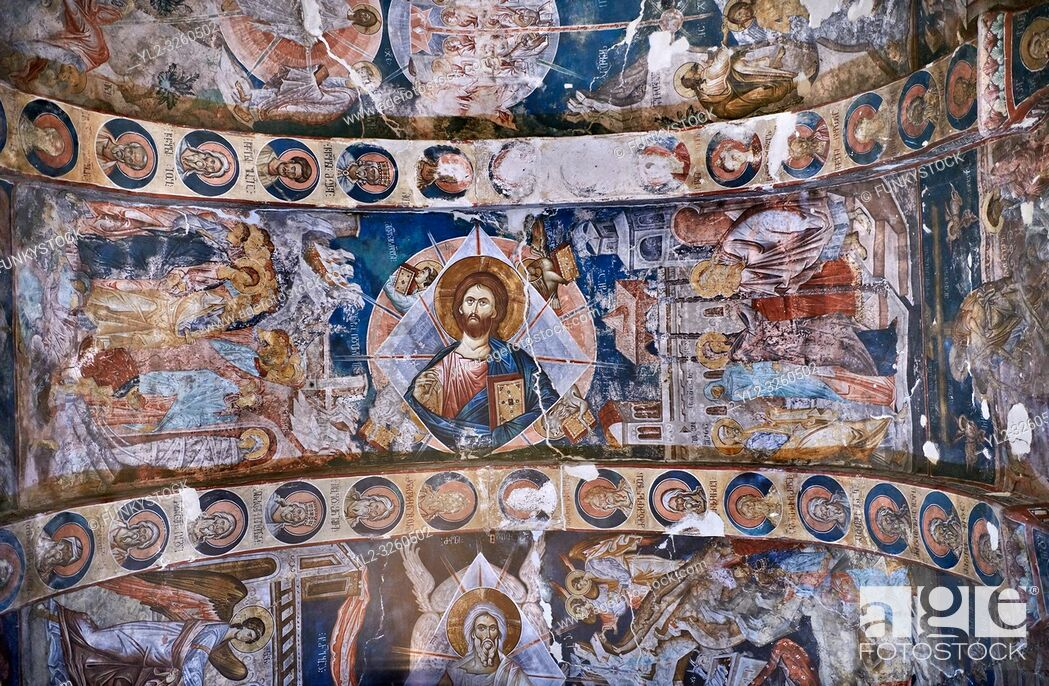 Stock Photo: Pictures & images of the interior frescoes on the barrel vaulted roof of of Ubisa St. George Georgian Orthodox medieval monastery, Georgia (country).